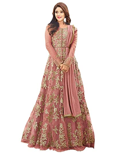 75d718840d Drashti villa Women's Net Heavy Embroidered with Stone Work Semi-Stitched  Anarkali Gown (PATEL PANAL, Light Pink, Free Size): Amazon.in: Clothing &  ...