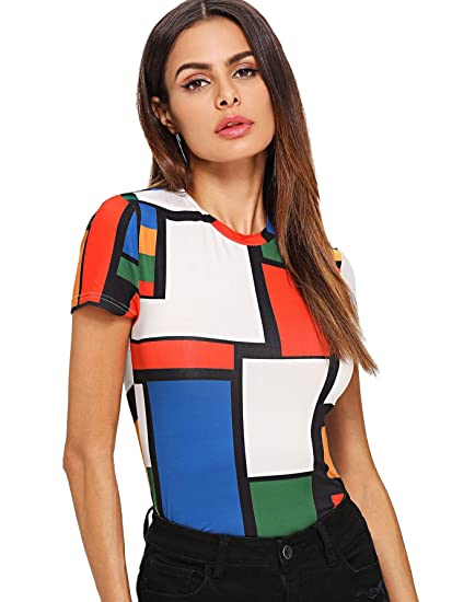 d76cc009ec76 SweatyRocks Women's Color Block Short Sleeve Slim Fit Tee T-Shirt Top at Amazon  Women's Clothing store: