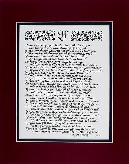 Amazoncom Mcdarlins Calligraphy If Rudyard Kipling Double Matted