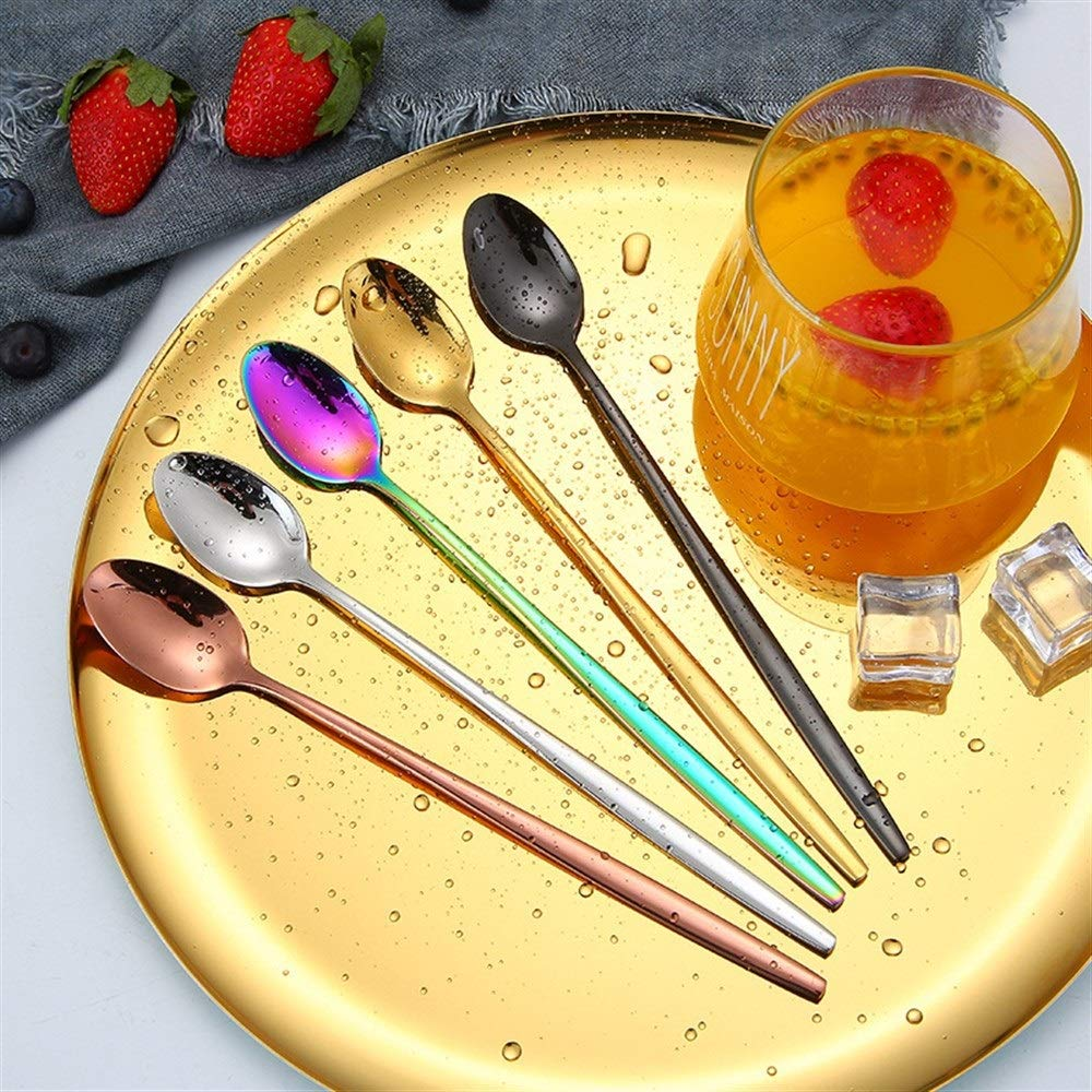 Cutlery Set Fashion Stainless Steel Spoon Long Handle 5 Piece Set Honey Stirring Ice Spoon Stainless Steel Gold Plated Tableware Cold Drink Bar Wedding (Size : Oval) by Sihui