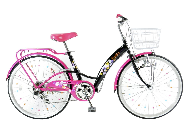 21Technology Emilia(エミリア) EM246 24インチ シマノ製6段変速 子供用自転車 B07B5ZZBLF ブラック/ピンク ブラック/ピンク