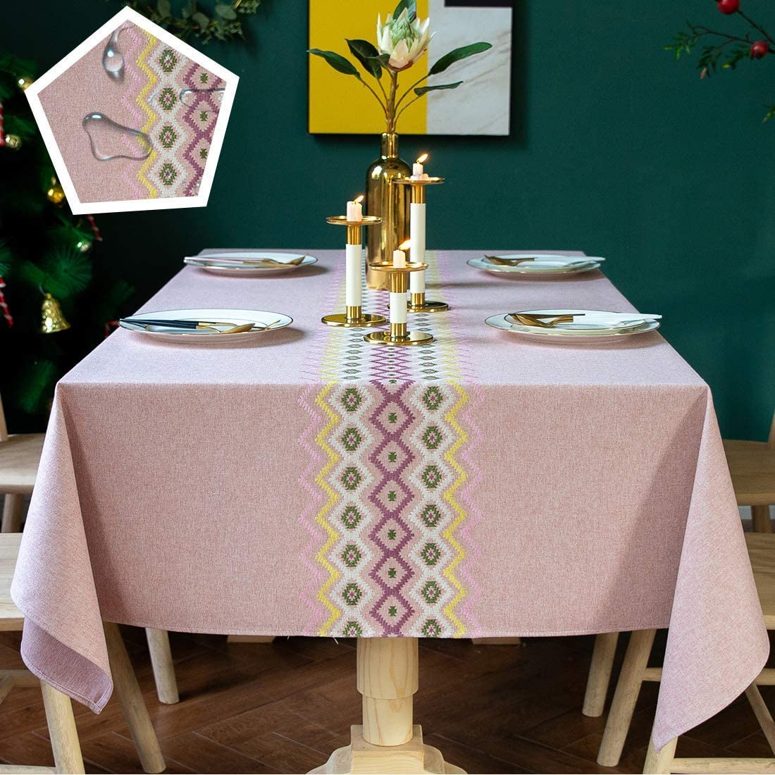 Vedouci Round Table Cloth Wrinkle Free Stitching Tassel Tablecloth Cotton Linen Round Table Cloths Washable Tablecloths for Round Tables for Dining Kitchen (Round,55 inch,Gray): Kitchen & Dining