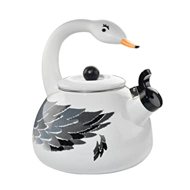 HOME-X White Swan Whistling Tea Kettle, Animal Teapot, Kitchen Accessories and Décor