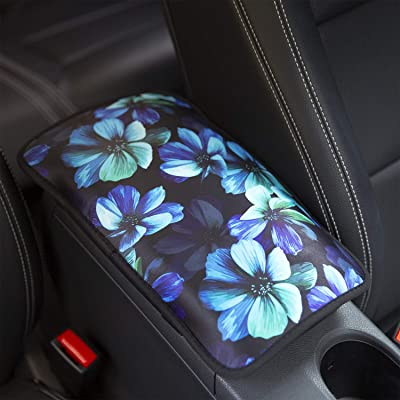 YR Vehicle Center Console Armrest Cover Pad, Universal Fit Soft Comfort Center Console Armrest Cushion for Car, Stylish Pattern Design Car Armrest Cover, Aqua Flower: Automotive