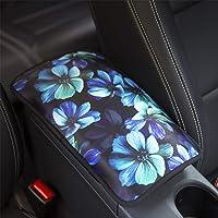 YR Vehicle Center Console Armrest Cover Pad, Universal Fit Soft Comfort Center Console Armrest Cushion for Car, Stylish Pattern Design Car Armrest Cover, Aqua Flower