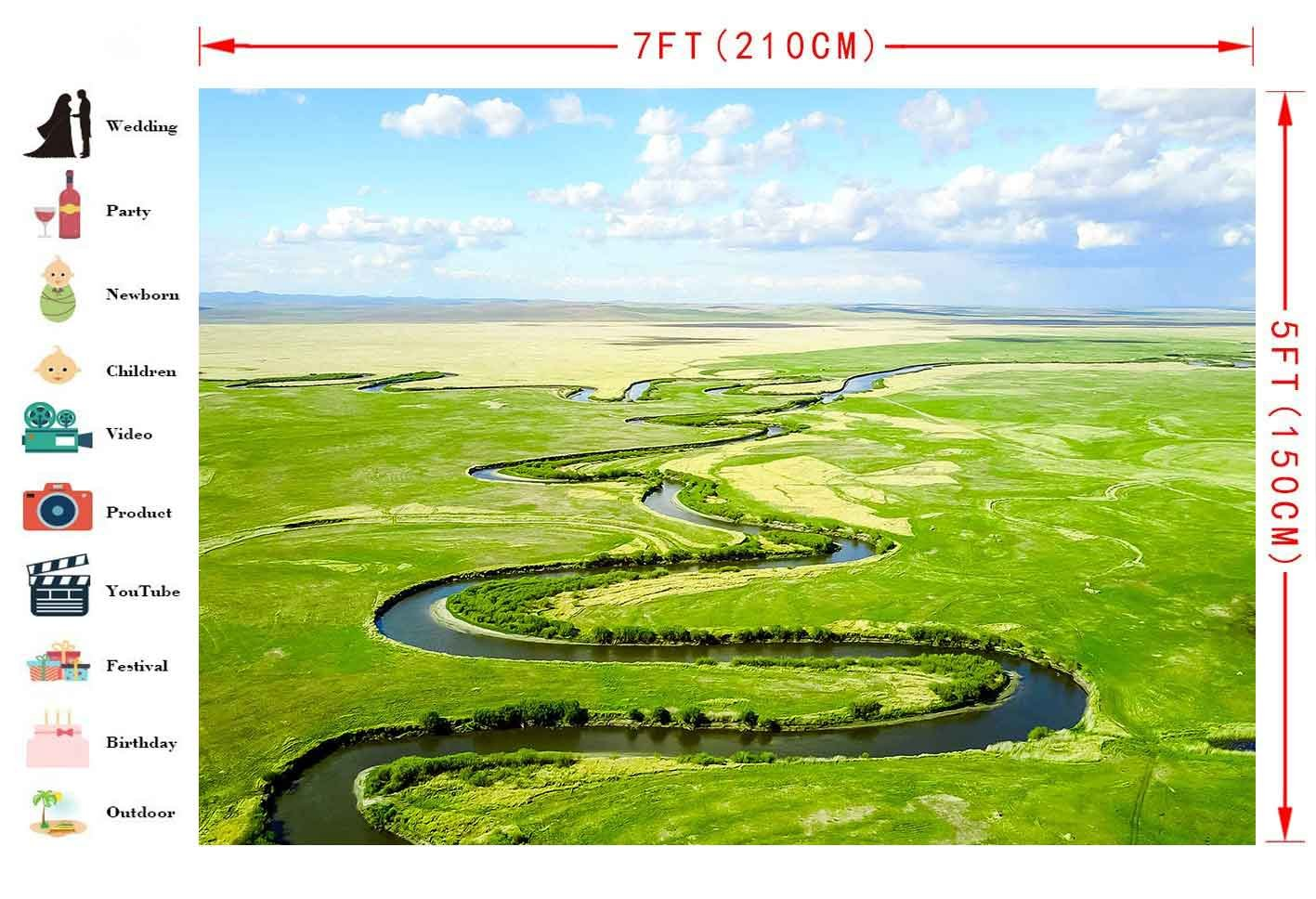 Amazon com : FHZON 7x5ft Hulunbeier River Aerial Photography Photo