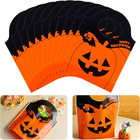 Alphatool 50 Pieces Halloween Candy Goody Bags- Jack-O-Lantern Orange Pumpkin Mini Plastic Party Gift Treat Bags for Halloween Party Supplies, Favors, Snacks