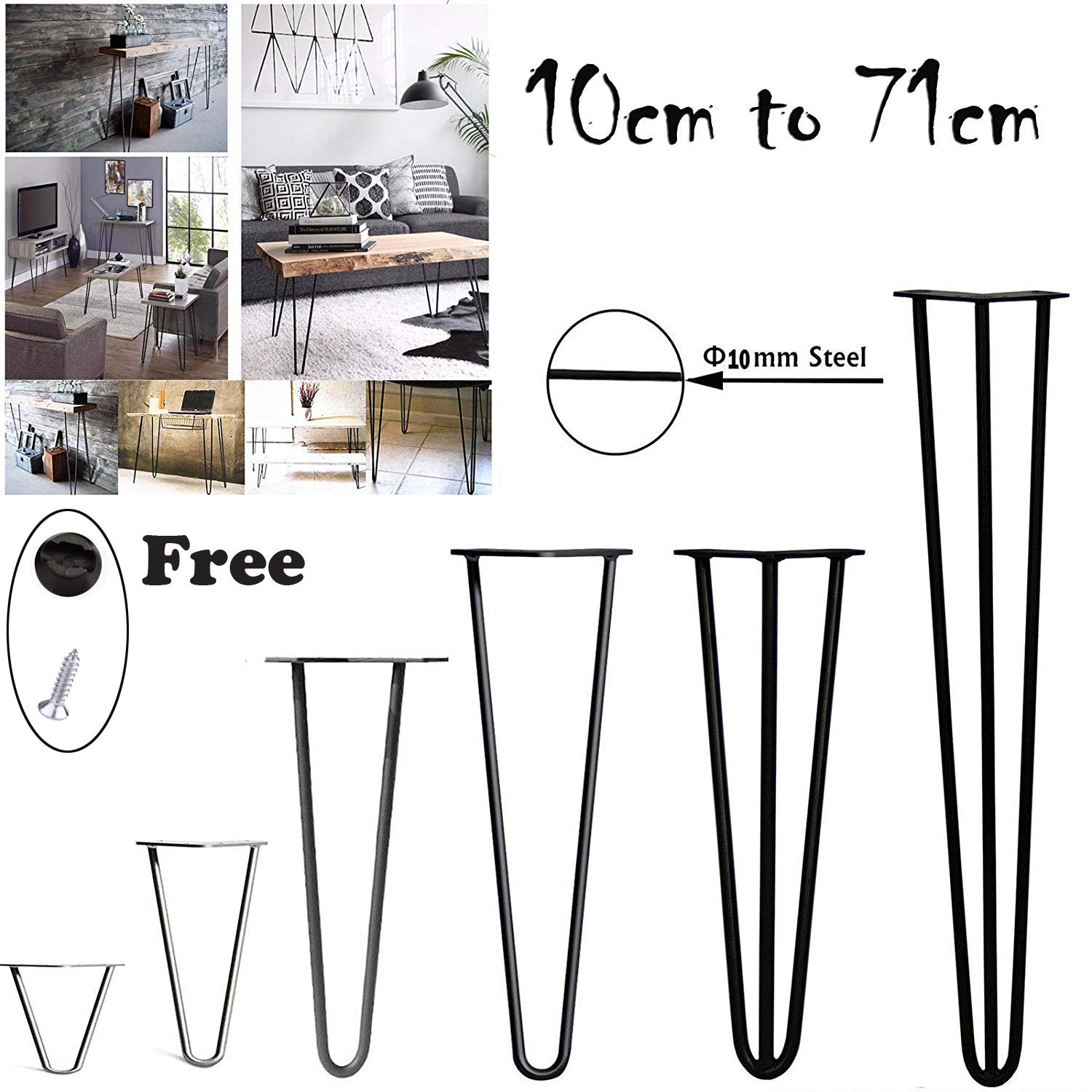 4Pcs Hairpin Table Legs Heavy Duty DIY Furniture Metal Table Legs with Free Screws & Protector Feet - Stable Standard Table Height, 10cm to 72cm, 2Rods, Black (20cm) AutoBaBa