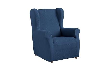 textil-home Funda de Sillón Orejero Elástico TEIDE, Tamaño 1 Plaza -Desde 70 a 100Cm. Color Azul