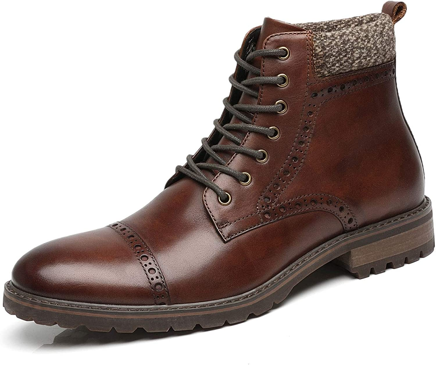 Mens Real Leather Lace Up High Top Combat Boot Winter Padded Fur Solid Color