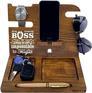 Boss Gifts for Men | Office | Wood Docking Station | Him | Leaving | Desk | Funny | Male | Phone Holder