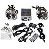 SharkMotorcycleAudio - Sistema de audio y radio para moto (250 W, canal 2.1, impermeable, con Bluetooth, Subwoofer), color cromado