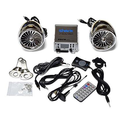 Equipo de audio y radio para moto, 250 W, 2.1 canales, impermeable, con Bluetooth, con Subwoofer, color cromado