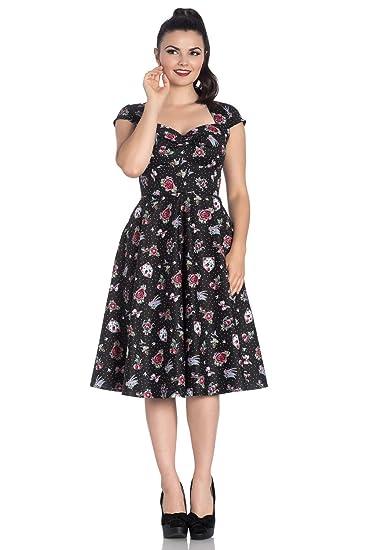c3a2cf25b43e Hell Bunny Stevie Vintage Retro 50s Rockabilly Polka Dot Flash Art Tattoo  Dress: Amazon.co.uk: Clothing