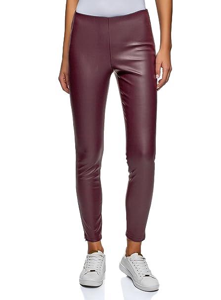 oodji Ultra Mujer Pantalones de Piel Sintética con Cremallera  Amazon.es   Ropa y accesorios 4128a1f42bb6