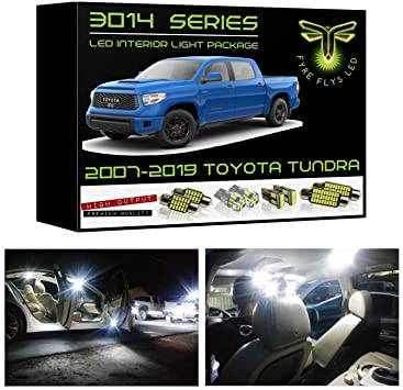 Fyre Flys 18 Piece White LED Interior Lights for 2007-2019 Toyota Tundra Super Bright 6000K 3014 Series SMD Package Kit and Install Tool