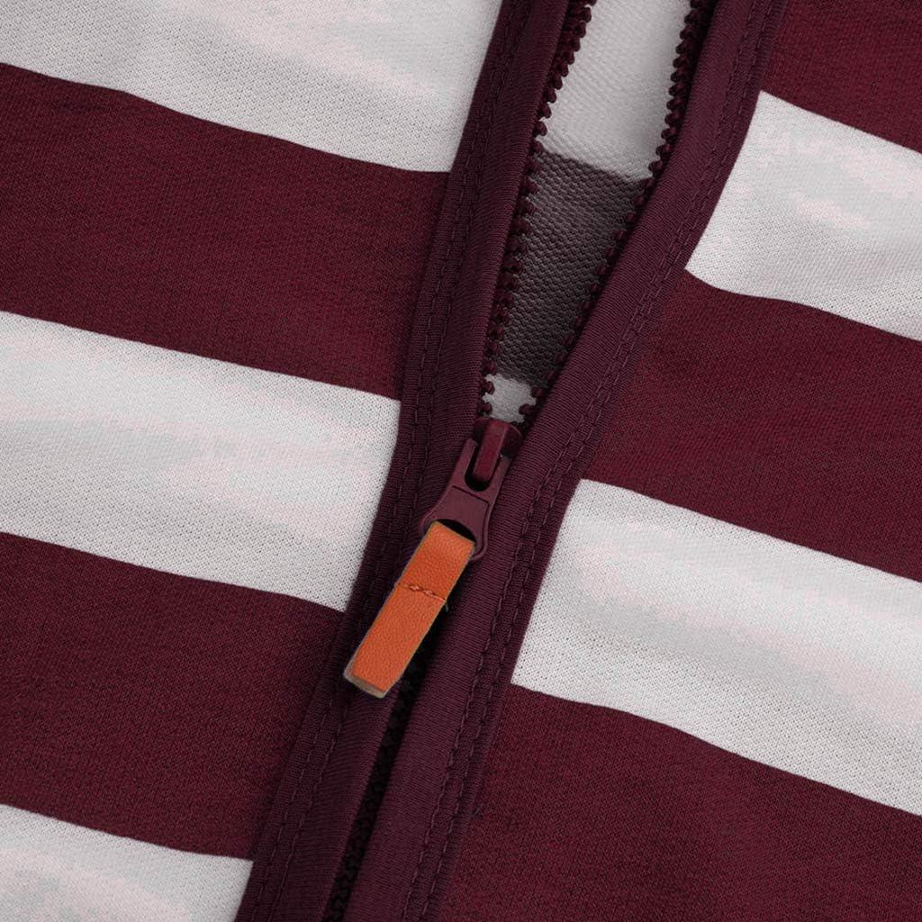 Womens Hoodies Rikay Clothes Stripe Zipper Casual Sweatshirts Tops Hooded Coat Jacket Jumper Size 8-20 UK