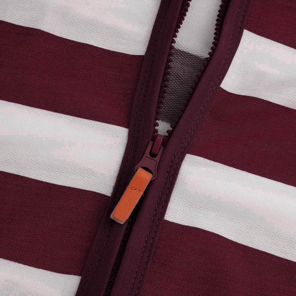 FANOUD Women Tops Casual Slim Zipper Striped Sweater Hooded Sweatshirt