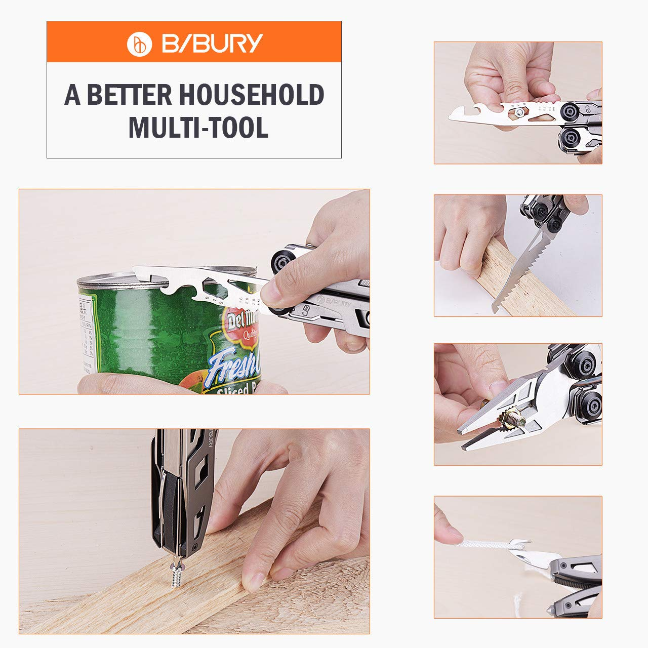 Multitool Pliers,Titanium 18-in-1 Multi-Purpose Pocket Knife Pliers Kit, Durable Stainless Steel Multi-Plier Multi-Tool for Survival, Camping, Hunting, Fishing and Hiking (Titanium 18 in 1) by Bibury (Image #4)