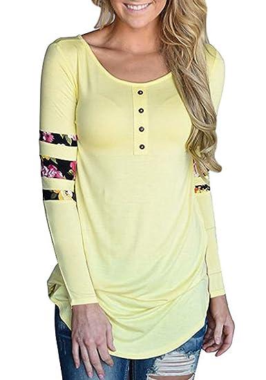Smalltile Verano Mujer Blusa Moda Delgado Largas T-Shirt Casual Cuello Redondo Impresión Costura Camisetas de Manga Larga Básico Tops: Amazon.es: Ropa y ...