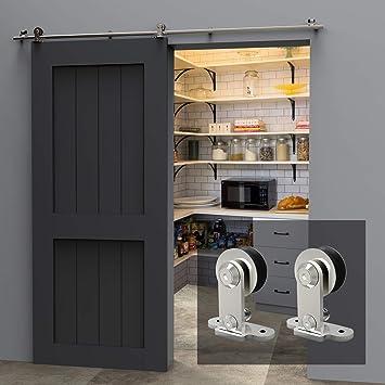 4FT/121cm Herraje Puerta Corredera Acero Inoxidable, Herraje para puerta Sistema Carril de acero inoxidable madera puerta corredera Puerta Corredera: Amazon.es: Bricolaje y herramientas