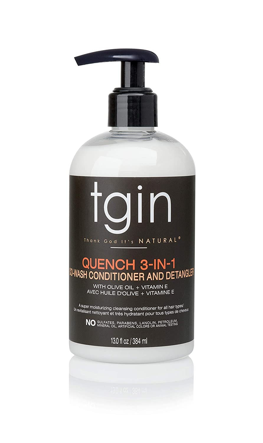 tgin Quench 3-in-1 Co-Wash Conditioner and Detangler For Dry Hair - Curly Hair - 13 Oz