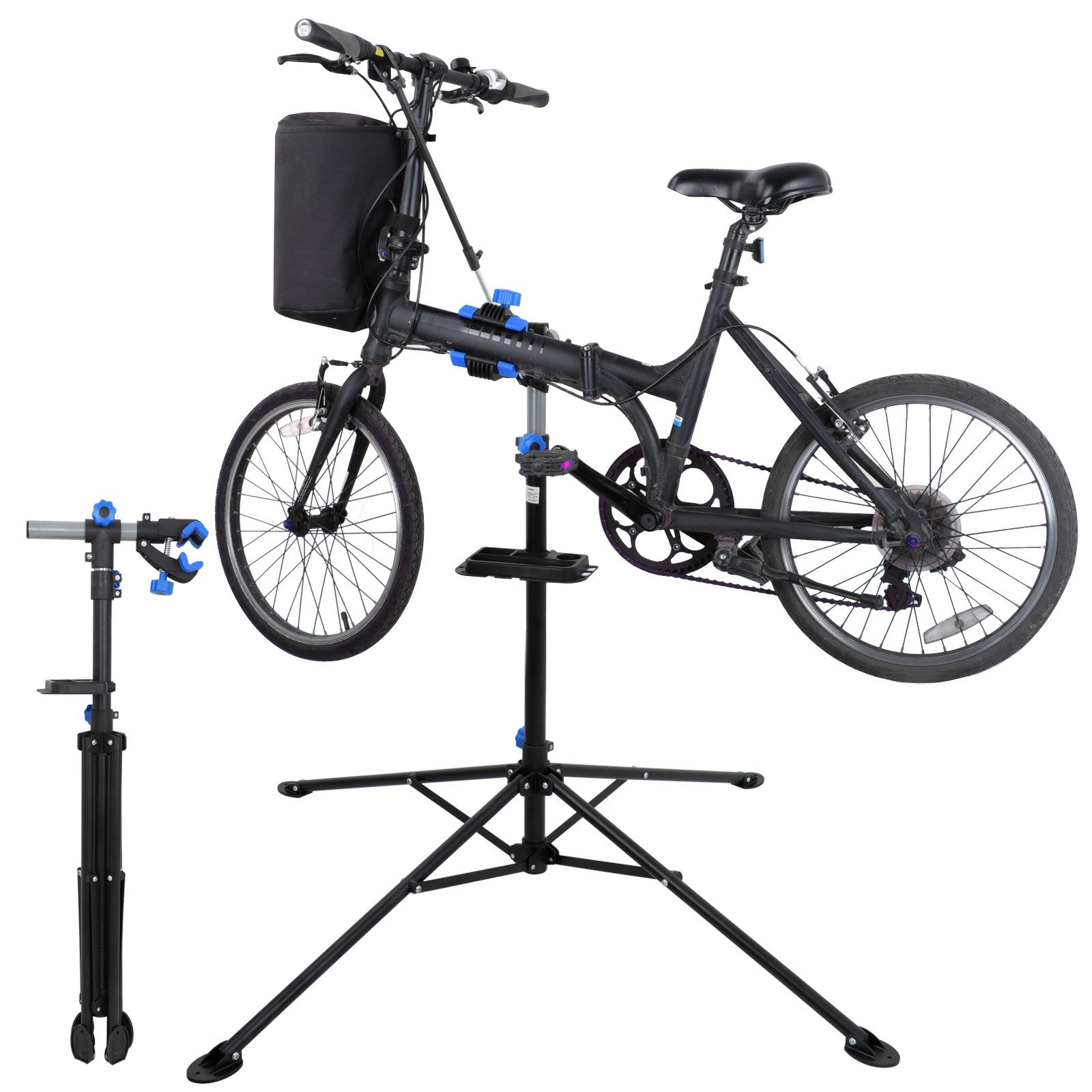 ZENY Adjustable Mechanic Bike Repair Stand Bicycle Maintenance Rack Workstand with Tool Tray 360 Degree Rotate Telescopic Arm Cycle by ZENY