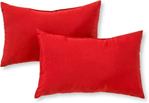 Greendale Home Fashions Set of 2 Outdoor 19x12-inch Rectangle Throw Pillows, Fire