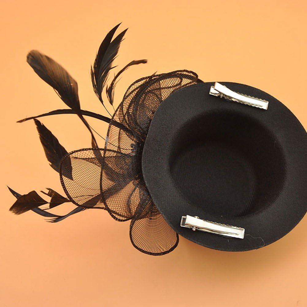 BAOBAO Flower Mesh Net Fascinators Hair Clip Mini Top Hats for Wedding Party Headwear