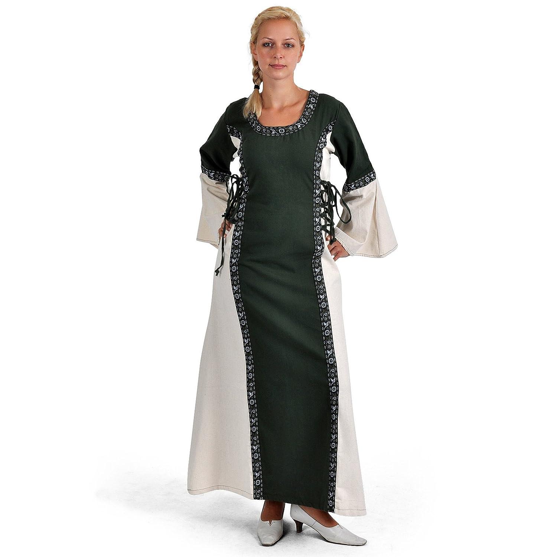 XXL Battle Merchant Medieval Dress – Ella With Cotton Border, Natural Green Medieval Dress LARP Viking