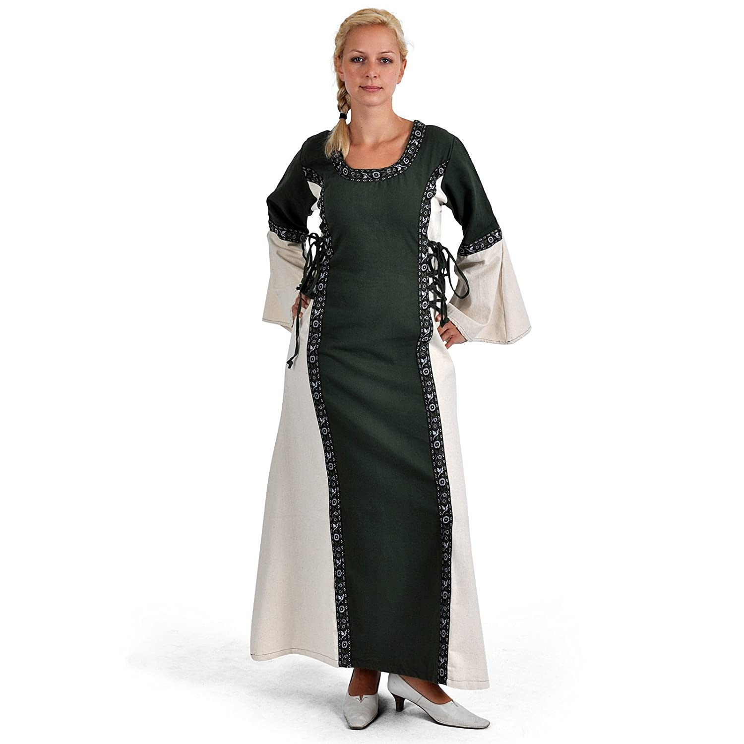 Medieval Dress Tyra - Side & Back Lacing - For LARP Events or Cons - Green/Natural