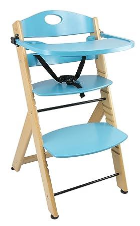 Chaise Haute Avec Plateau En Bois Bleu Naturel Chaise Bebe Escalier