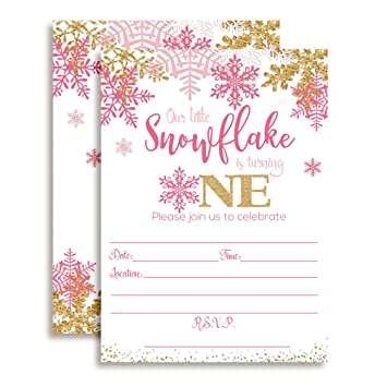 Winter Snowflake First Birthday Party Invitations In Pink Gold 20 5quotx7quot