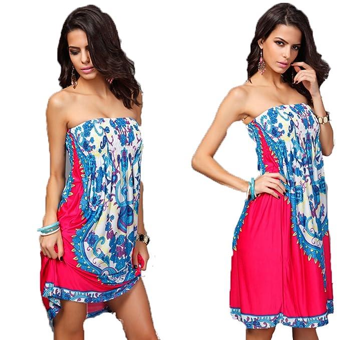 DaQao Vestir Elegante Vestido de Noche para Playa Bonitos Dress Sin Tirantes Temprano Verano Falda Espalda Descubierta Moda Ropa: Amazon.es: Ropa y ...