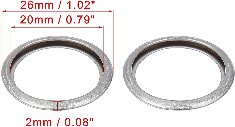 X AUTOHAUX 20pcs M20 Silver Tone Oil Drain Plug Gasket Replacement for Subaru 11126AA000