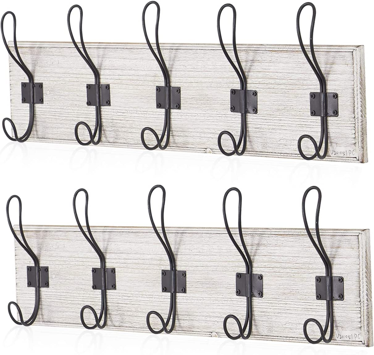 Rustic Coat Hat Wooden Rack Wall Mounted with 5 Hooks, for Entryway, Bathroom, Bedroom, Kitchen(Pack of 2)