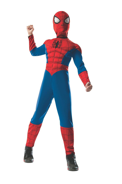 Child Medium Rubies Costume Marvel Universe Ultimate Spider-Man 2-in-1 Reversible Spider-Man//Venom Muscle Chest