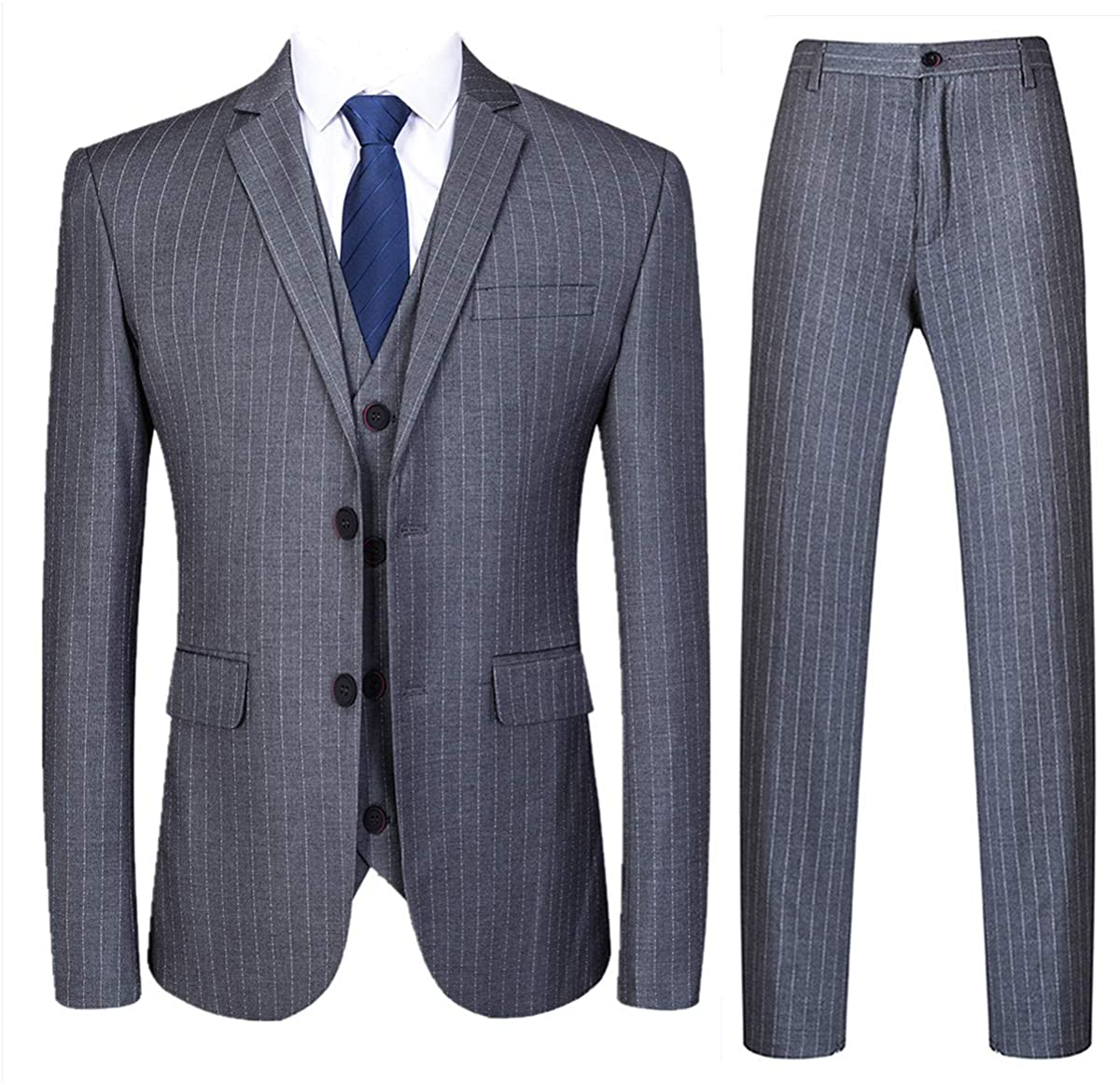 Mens 3 Piece Pinstripe Suit Slim Fit Casual Dress Suits Blazer + Vest + Pants