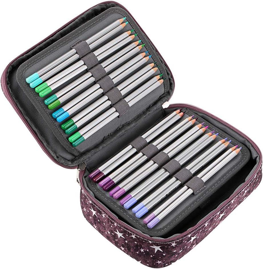 bleu /étoile une Lani/ère et Grande Capacit/é Sumnacon Nouveau 36 Toile Trousse de Crayon Scolaire,Multifonction et avec 3 Couches D/émontables