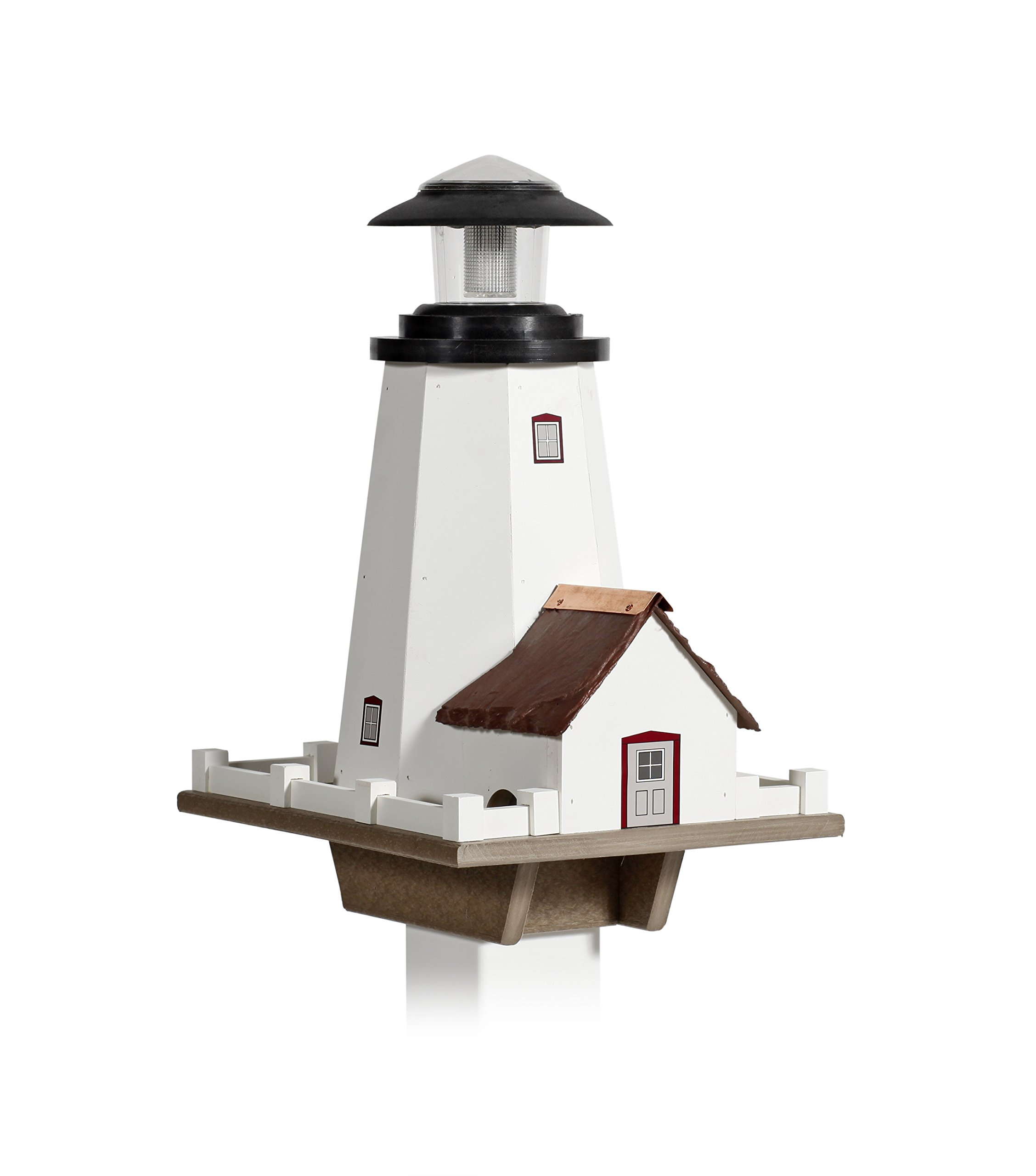 Lighthouse Birdfeeder with Solar Light Amish Made by Capital Outdoor Accents