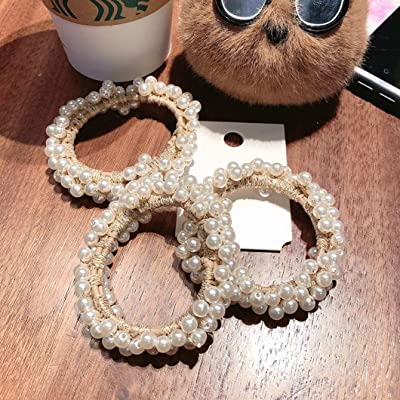5X Pearl Elastic Hair Band Ponytail Holder Scrunchy RopeHair Accessories 2020