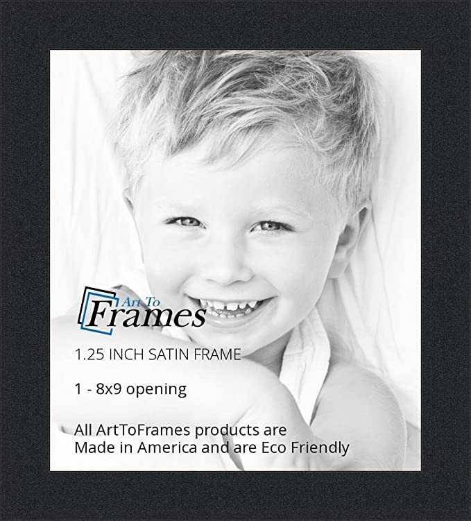 Amazon.com - ArtToFrames 8x9 inch Satin Black Picture Frame ...