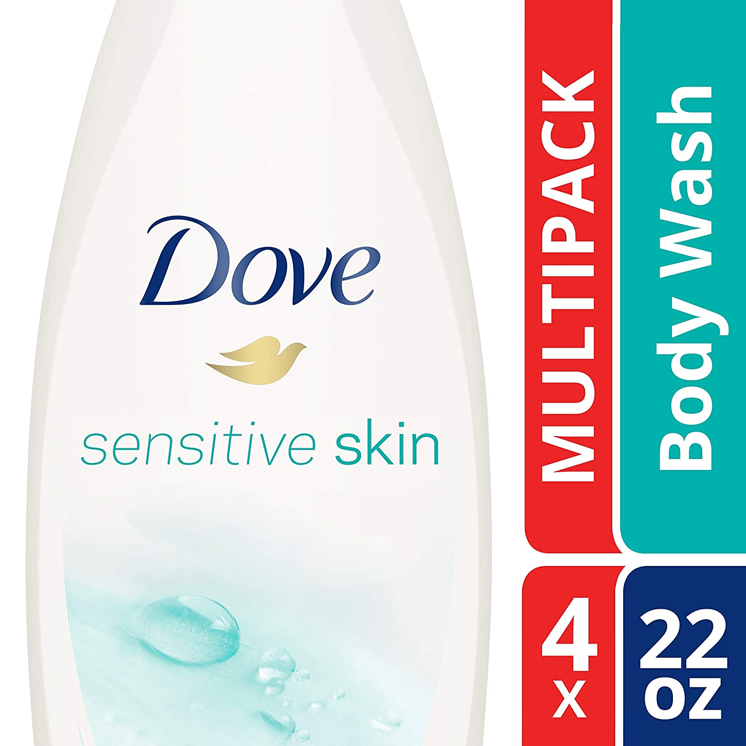 DoveSulfate Free and Hypoallergenic, Sensitive Skin Body Wash, 22 Fl Oz (Pack of 4)