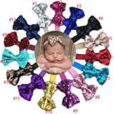 CellElection 15pcs Boutique Bling Sparkly Sequin Big Large Hair Bows Soft Elastic Hair Band Accessories Headwrap Top BowKnot Headbands for Baby Girls Teenger