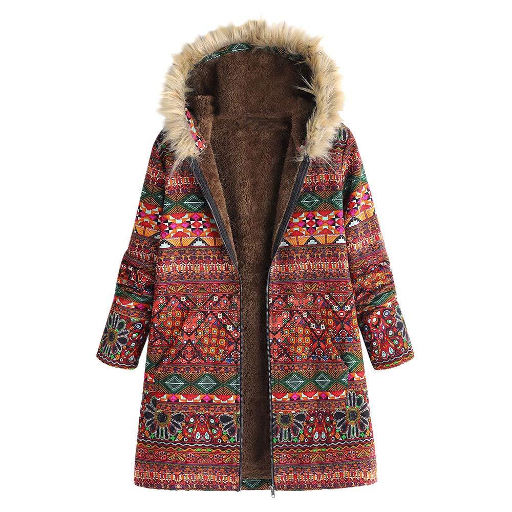 Overdose Womens Coat Jacket Winter Warm Outwear Floral Print Hooded Pockets Vintage Oversize Coats,S-5XL