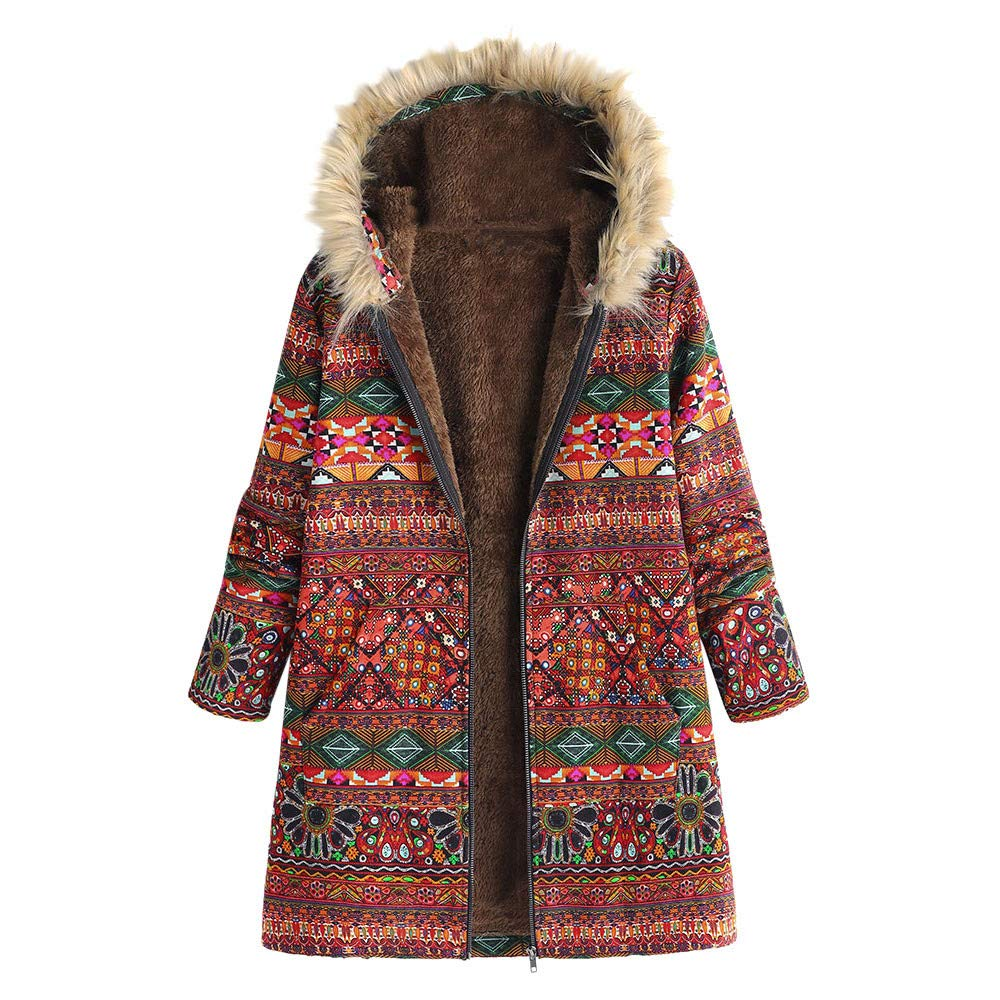 iDWZA Fashion Womens Winter Warm Outwear Floral Print Hooded Pockets Vintage Oversize Coats(Red,US XS/CN S)