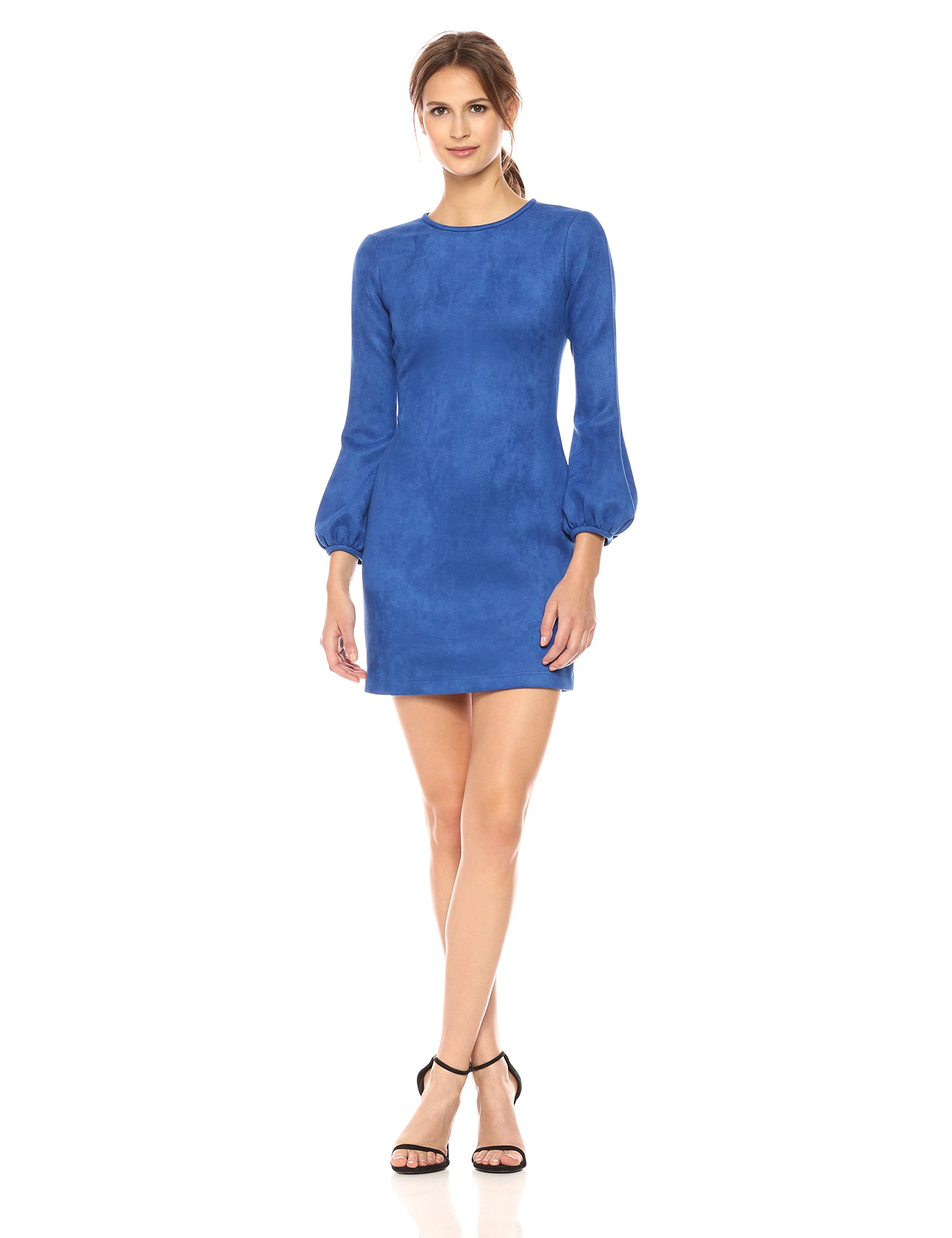 Cynthia Rowley Women's Suede Bell Sleeve Dress, Bright Blue, 10