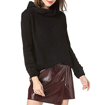 Miessial Wonen's Cute Cowl Neck Twist Sweater Pullover Winter Loose Knitted Jumper Tops Black One Size at Women's Clothing store