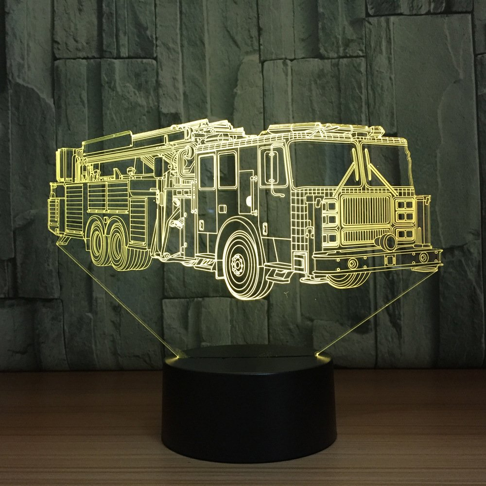3D Fire Fighting Truck Car Tractor Night Light Table Desk Optical Illusion Lamps 7 Color Changing Lights LED Table Lamp Xmas Home Love Brithday Children Kids Decor Toy Gift