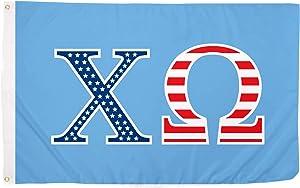 Chi Omega USA Letter Sorority Flag Greek Banner Large 3 feet x 5 feet Sign Decor chi o (Flag - USA)